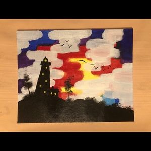 Small acrylic painting lighthouse
